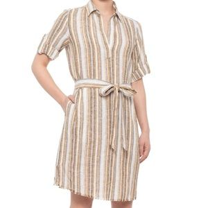 DREW Oat Ollie Belted Shirt Dress in Natural